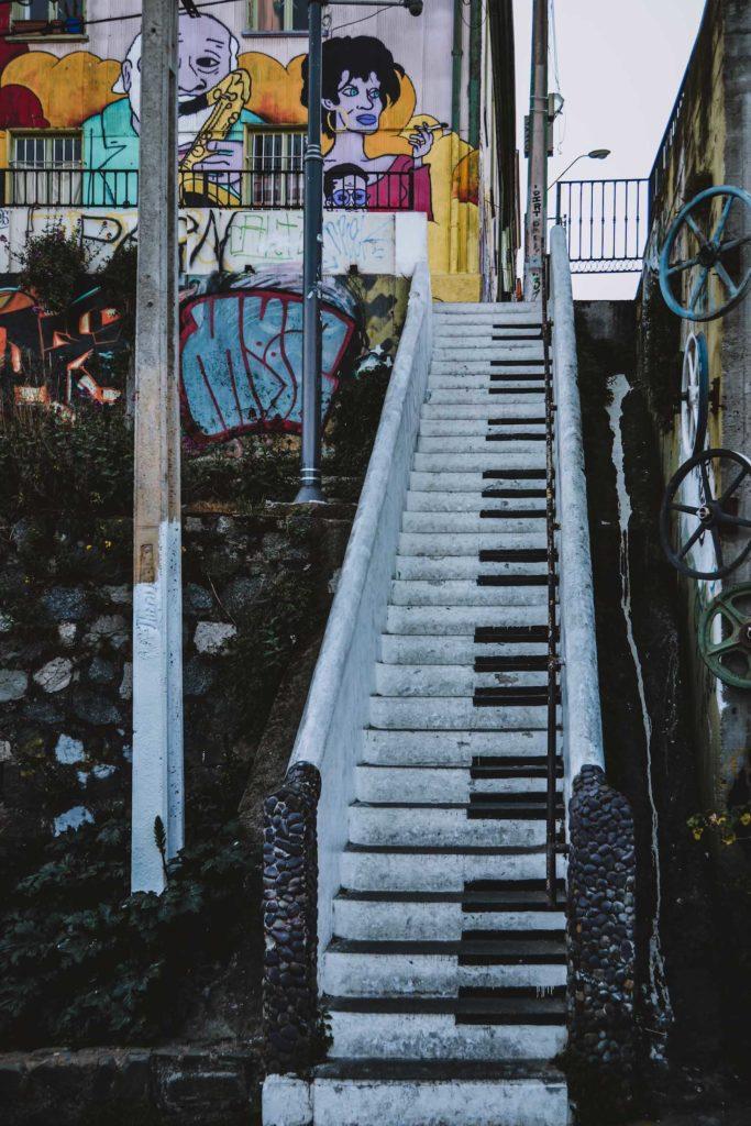 Escalier peint comme un piano
