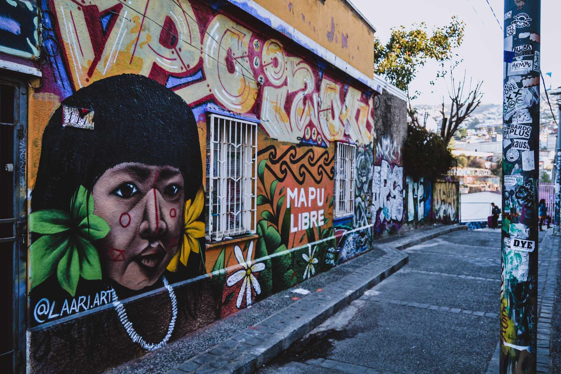 """Peinture murale au Cerro Concepcion, enfant mapuche, avec écrit """"Mapu Libre"""""""