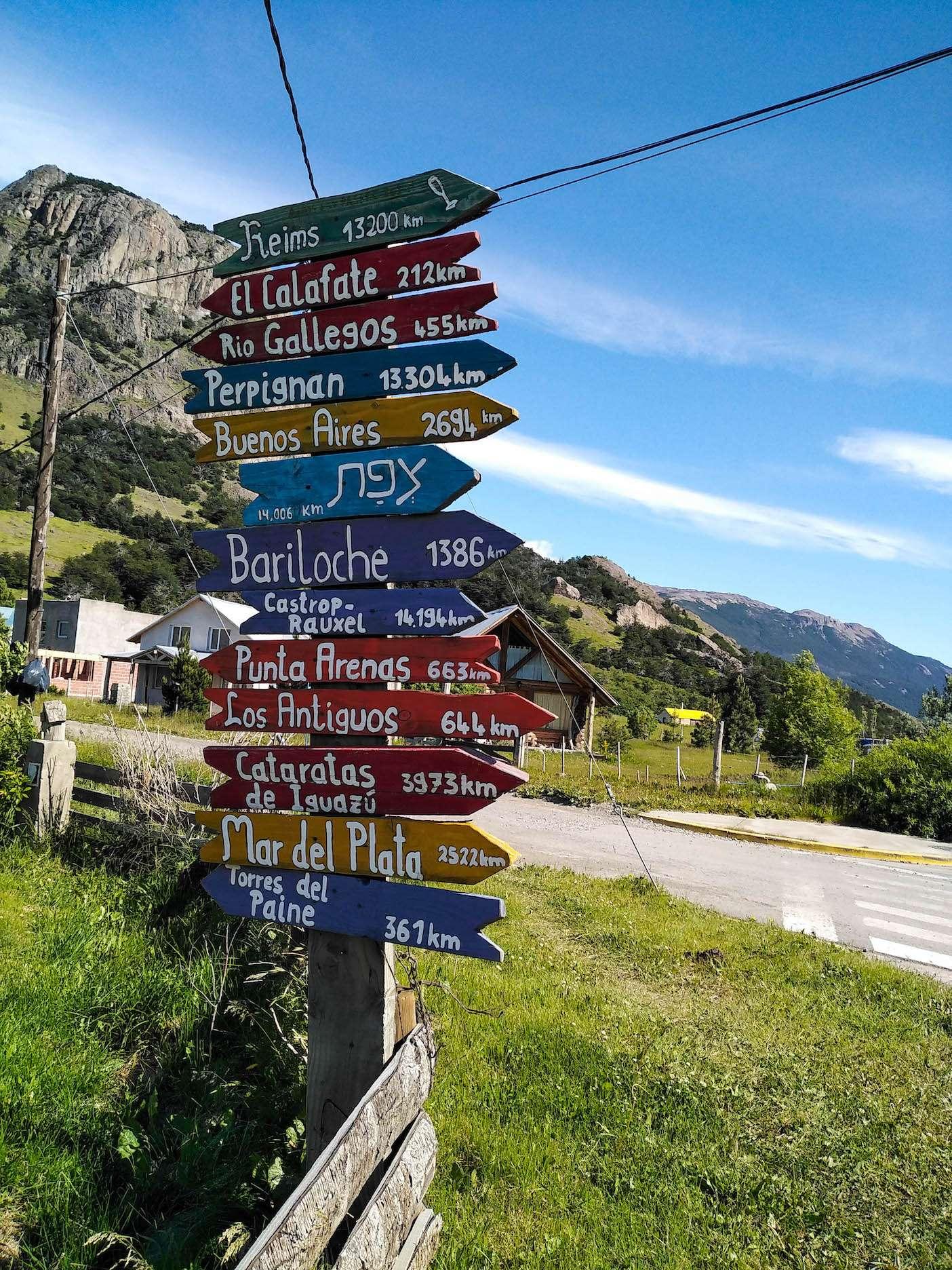 Directions des villes connus depuis El Chalten