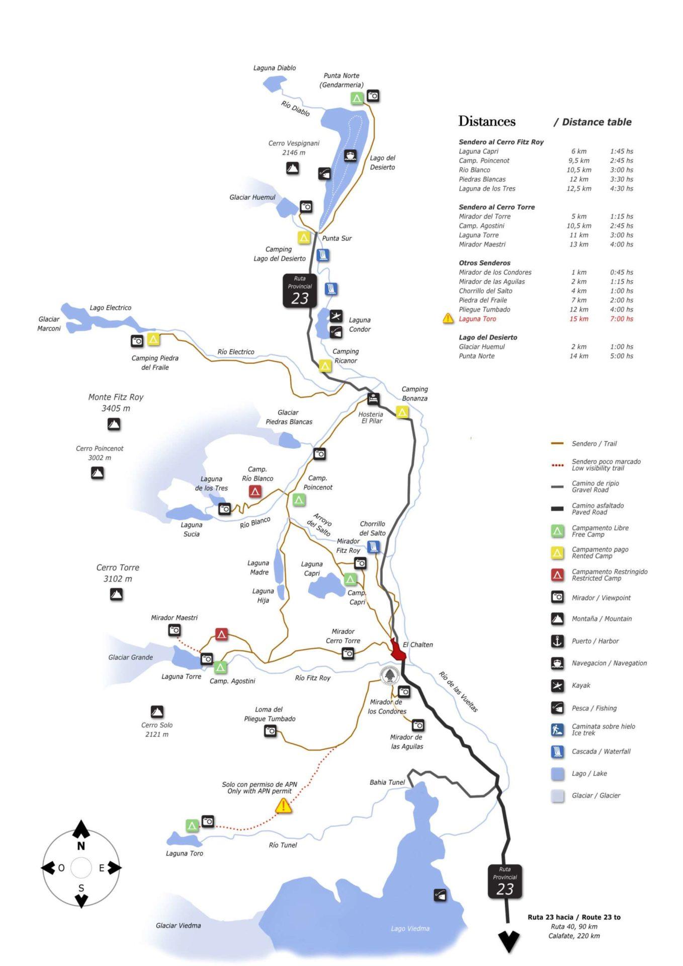 Carte de randonnée à El Chalten